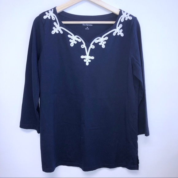 Kim Rogers Tops - Kim Rogers Medium Navy Blue embroidered Top